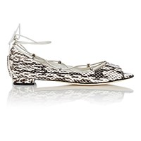 Manolo Blahnik Women's Aneska Lace Up Flats Black White Beige Black White Beige