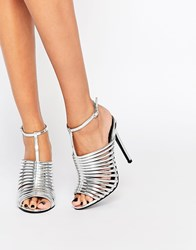 Asos Humid Caged Heeled Sandals Silver
