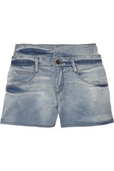 Theyskens' Theory Wauva High Waisted Stretch Denim Shorts Light Denim