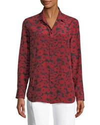 Saint Laurent Poppy Print Silk Blouse Red Black