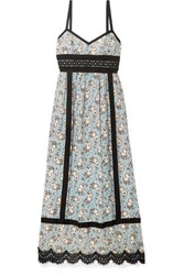 Anna Sui Corded Lace And Grosgrain Trimmed Printed Silk Chiffon Midi Dress Light Blue