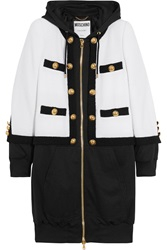 Moschino Hooded Wool Blend Boucle And Jersey Jacket