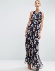 Asos Wedding Pleated Maxi Dress With Ruched Detail In Vintage Floral Print Multi