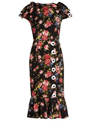 Dolce And Gabbana Rose Print Silk Charmeuse Dress Black Multi