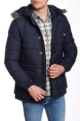 Ben Sherman Nylon Parka With Faux Fur Trim Blue