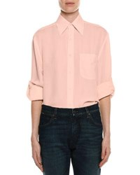 Tom Ford Stretch Charmeuse Button Down Blouse Pink