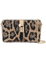 Dolce And Gabbana Embellished Clutch Bag Brown