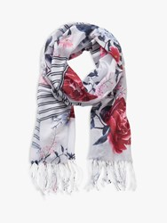 Betty And Co. Floral Print Scarf White Blue