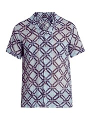 Giorgio Armani Geometric Print Short Sleeved Shirt Blue Multi