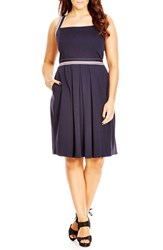 City Chic Plus Size Women's 'Sail Stripe' Dress Navy
