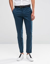 Selected Homme Suit Trousers In Skinny Fit With Stretch Blue Teal