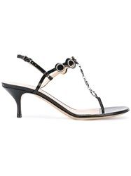 Giorgio Armani Embellished Kitten Heel Sandals Women Calf Leather Leather 40 Black