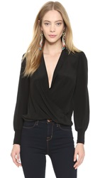 Alice Olivia Cross Front Blouse Black
