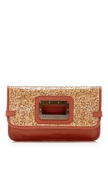 Tomas Maier Foldover Clutch Brown