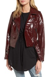 Vigoss Women's Faux Patent Leather Biker Jacket Dark Red