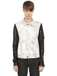 Rick Owens Drkshdw Leather And Cotton Denim Jacket White Black