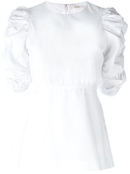 Celine Poplin Ruched Sleeve Top White