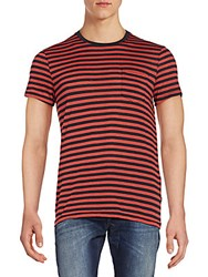 J. Lindeberg Striped Patch Pocket Tee Red