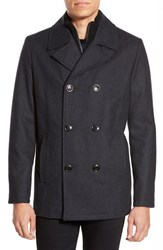 Kenneth Cole Reaction Men's Kenneth Cole New York Classic Peacoat With Knit Bib Lining Charcoal