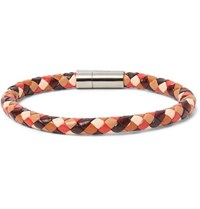 Paul Smith Woven Leather And Silver Tone Bracelet Brown
