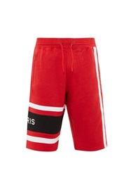 Givenchy Logo Embroidered Cotton Jersey Track Shorts Black Red