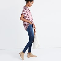 Madewell Central Shirt In Gingham Check Small Dusty Burgundy