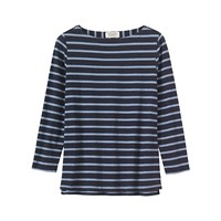 Toast Breton Stripe Long Sleeve T Shirt Navy Pale Blue