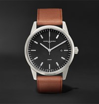 Maurice De Mauriac L1 42Mm Stainless Steel And Leather Watch Black