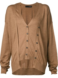 Isabel Benenato Double Layer Cardigan Brown