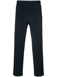 Issey Miyake Men Ribbed Cropped Trousers Men Polyester 3 Blue