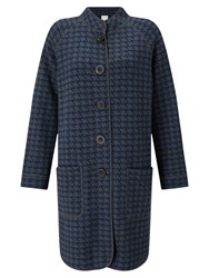 East Checked Hooded Knitted Coat Multi