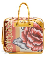 Balenciaga Blanket Square Floral Print Medium Leather Bag Yellow Multi