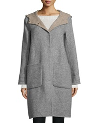 Eileen Fisher Alpaca Double Face Knee Length Coat Petite