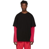 Juun.J Ssense Exclusive Black And Red Layered Long Sleeve T Shirt