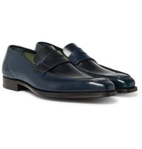 George Cleverley Horween Shell Cordovan Leather Penny Loafers Navy