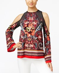 Eci Printed Cold Shoulder Blouse Floral Paisley
