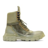Rick Owens Green And Transparent Hiking Sneakers