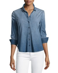 J Brand Azni Button Front Chambray Shirt Manifest Blue