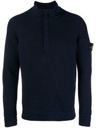 Stone Island Half Zip Sweater Blue