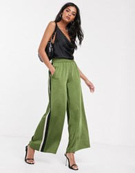 Lost Ink Wide Leg Satin Trousers With Side Stripes Green