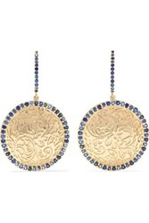 Larkspur And Hawk Emily's Garden Arbor Medallion 14 Karat Gold Sapphire Earrings