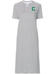Ck Calvin Klein Basque Stripe Midi T Shirt Dress White