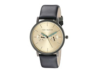 Ted Baker Classic Collection Custom Multifunction Sub Eye W Contrast Detail Date Leather Strap Watch Gold Watches