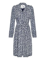 Yumi Floral Trench Coat Blue