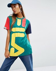 Fila Oversized Boyfriend T Shirt With Giant Logo And Colour Block Sleeves Green