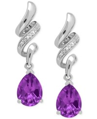 Macy's Amethyst 1 9 10 Ct. T.W. And Diamond Accent Squiggle Earrings In Sterling Silver