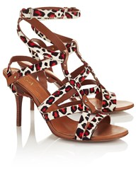 Inga Red Leopard Strappy Alice Heels Multi