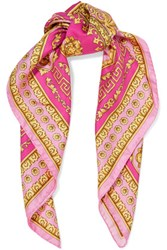 Versace Printed Silk Twill Scarf Pink