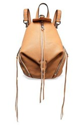 Rebecca Minkoff Woman Julian Convertible Textured Leather Backpack Camel