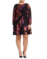 Taylor Plus Floral Print Long Sleeve Fit And Flare Dress Black Amethyst